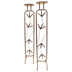 Pair of Mid-Century Modernist Anodized Iron Floor Candleholders, USA, 1960s