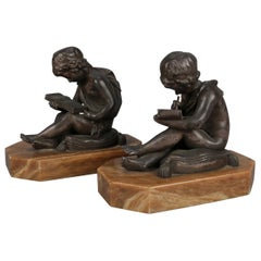 Antique French Bronze Sculpture Bookends after Charles Lemire, circa 1910