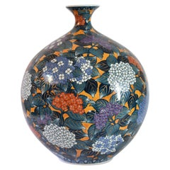 Large Japanese Contemporary Blue Orange Imari Porcelain Vase by Master Artist