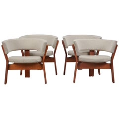 Set of Four Teak Barrel Chairs