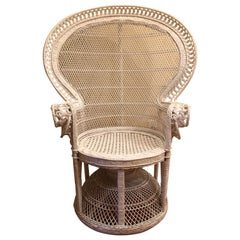 1960s White Rattan Wicker Victorian Peacock Emmanuelle Chair
