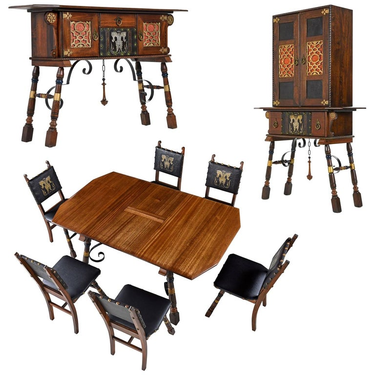Gothic Revival Style Dragon Motif Brass And Leather Mahogany Oak Dining Set 1
