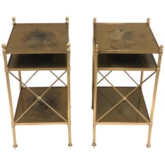 Pair of French Modern Neoclassical Brass Side / End Tables by Maison Jansen
