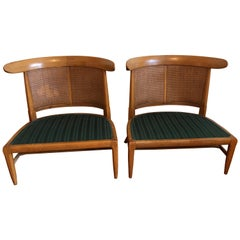 Cane Walnut Slipper Chairs by Tomlinson