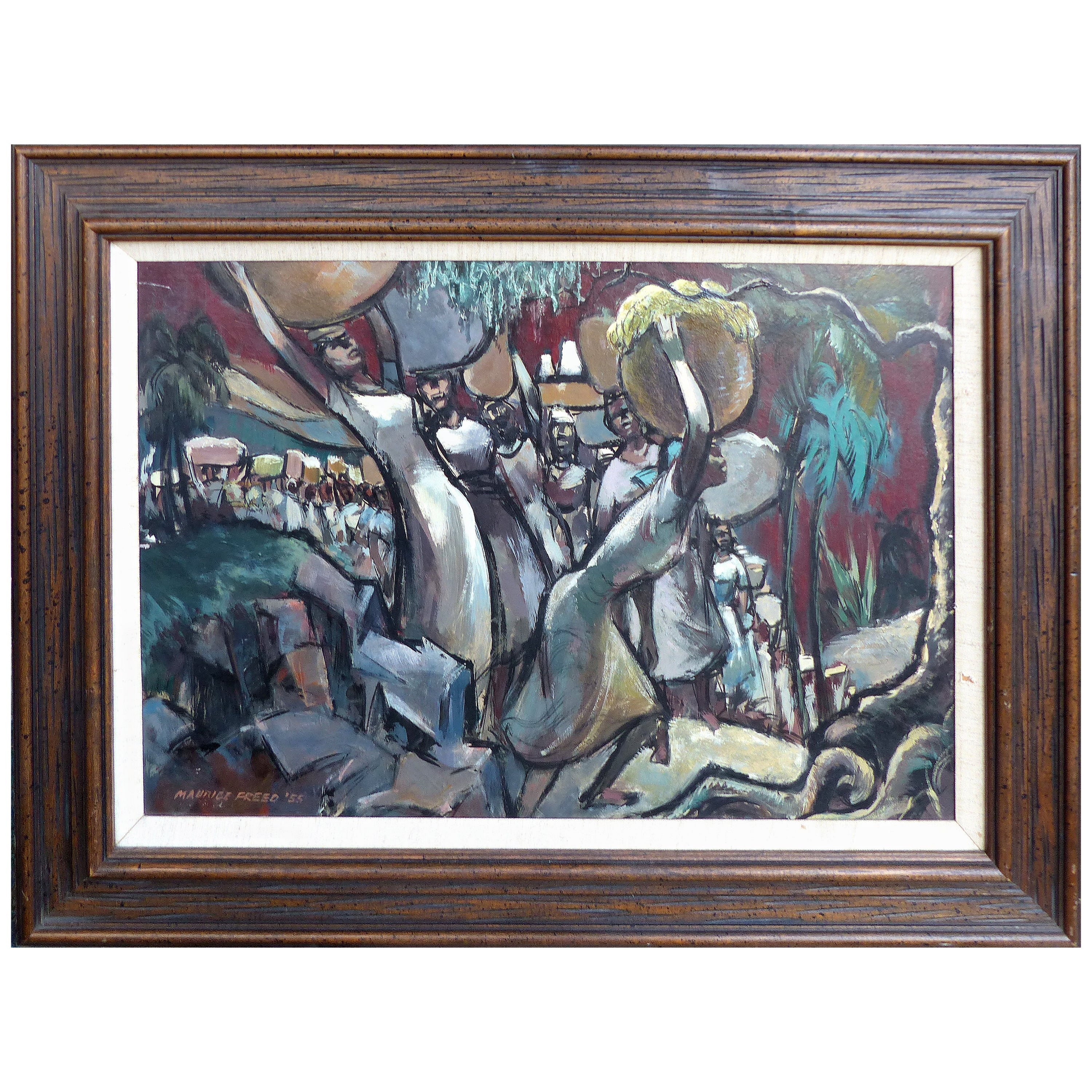 Maurice Freed Mid-Century Modern Abstract Oil Painting