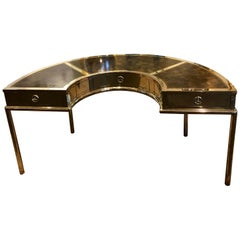 Brass and Leather Semicircular Mastercraft Desk