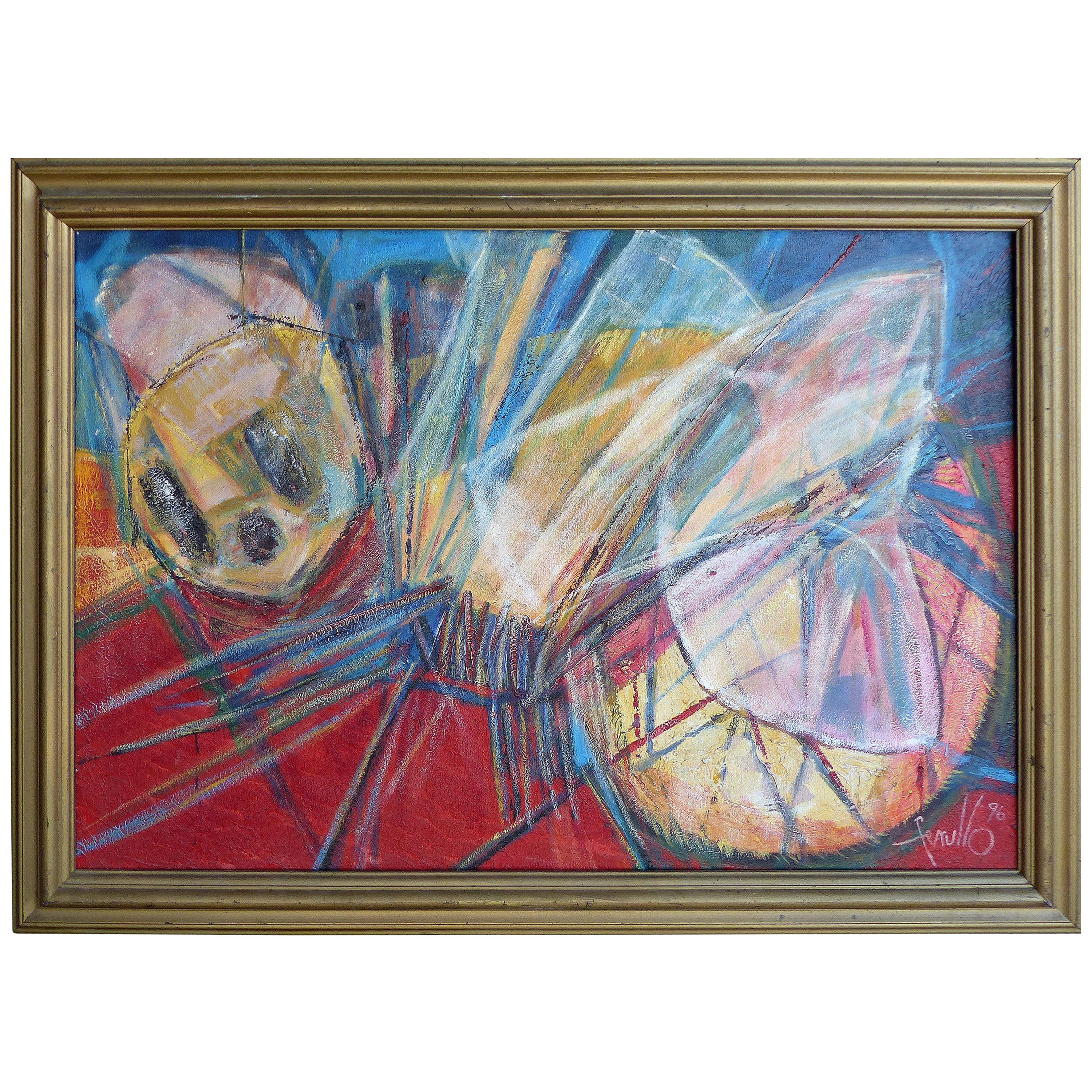 """Edith Ferullo Colorful Abstract Oil Painting on Canvas  """"The Bumble Bee"""", 1996"""
