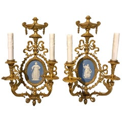 Pair of Exquisite Adam Style Ormolu Wall Sconces with Wedgwood Plaques