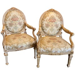 Pair of Louis XVI Style Carved Giltwood Bergère Chairs with Scalamandre Fabric