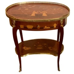 Louis XVI Style King and Tulip Wood Marquetry Side Table