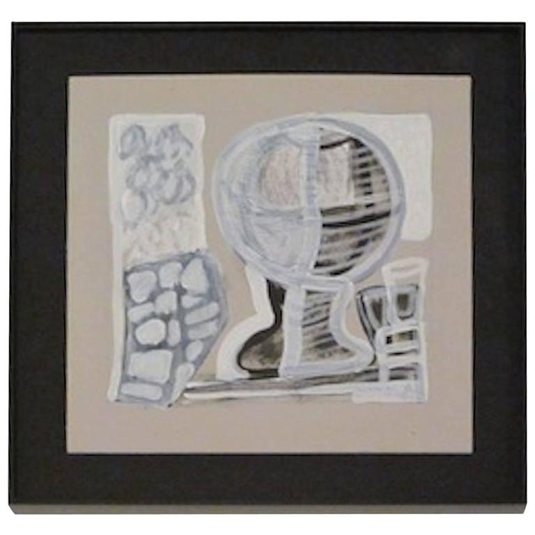 Abstract Watercolor Painting by French Artist Fabrice Penaux, Contemporary For Sale