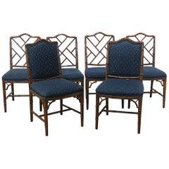 Sechs Kunstbambus Esszimmerstühle von McGuire, Hollywood Regency Stil