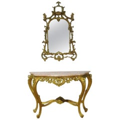 Florentine Style Marble-Top Console with Mirror