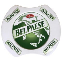 1980s Iconic Italian Ceramic Bel Paese Cheese by Galbani Advertising Plate