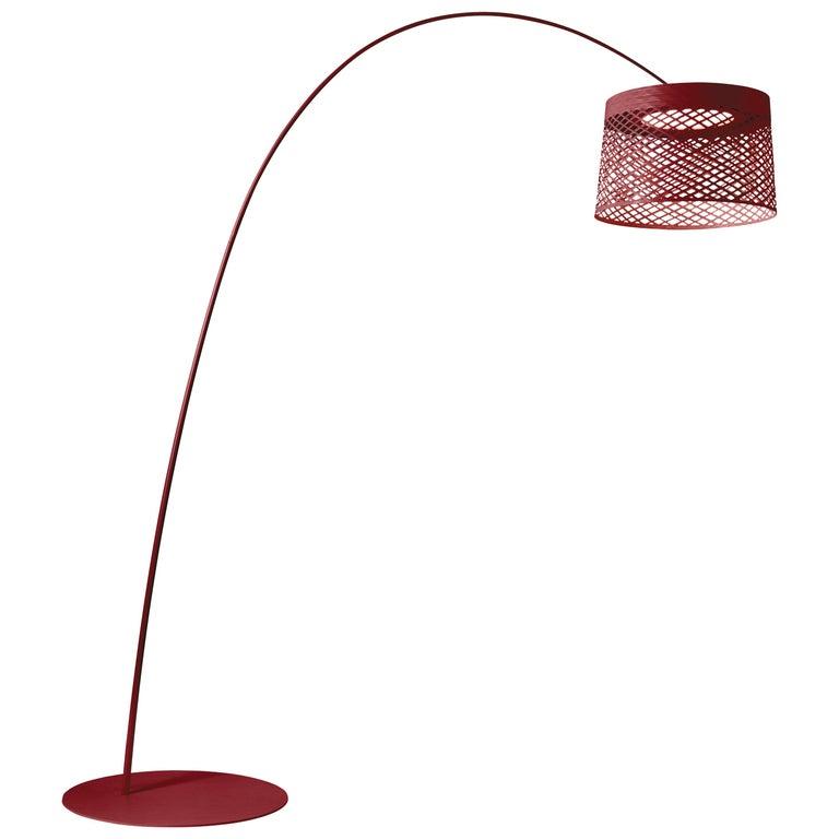 Foscarini Twiggy Grid Outdoor Floor Lamp in Carmine by Marc Sadler For Sale