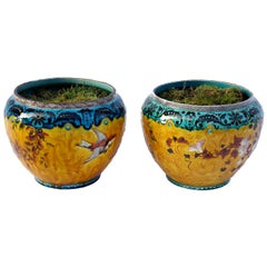 Théodore Deck, Pair of Yellow and Blue Porcelain Planter, 19th Century