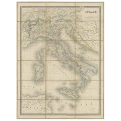 Antique Map of Italy by Andriveau-Goujon, 1855