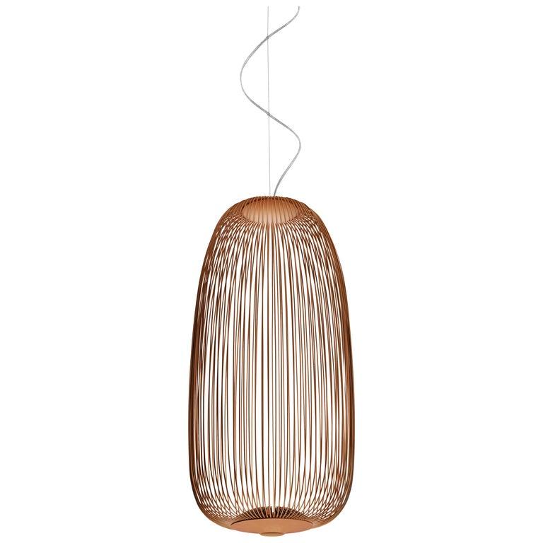 Foscarini Spokes 1 Suspension Lamp in Copper by Garcia and Cumini For Sale