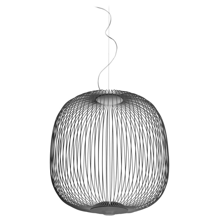 Foscarini Spokes 2 Large Suspension Lamp in Graphite by Garcia and Cumini For Sale