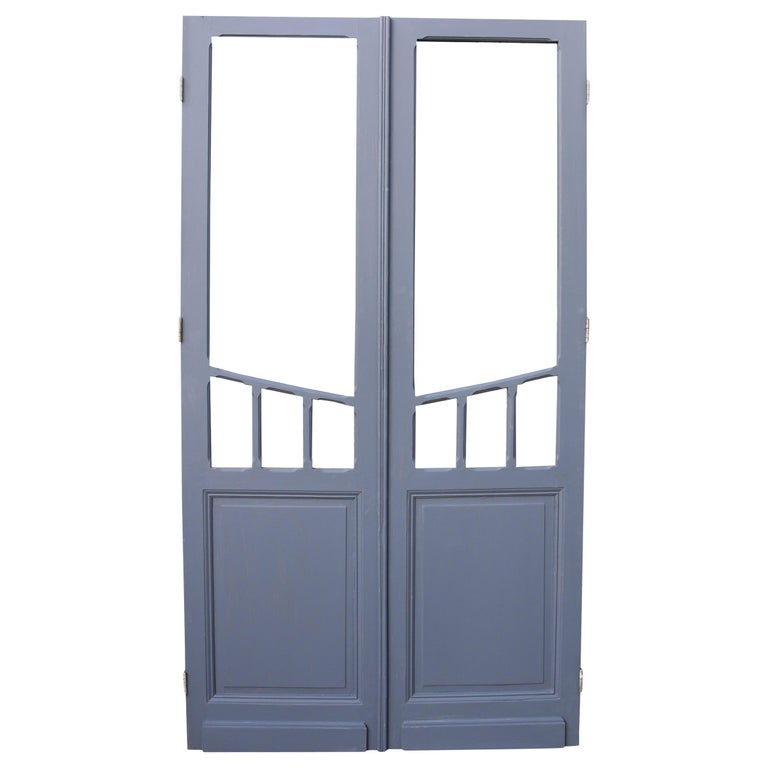 Pair of Antique Glazed French Double Doors For Sale