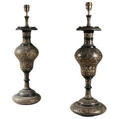 Pair of Kashmiri Baluster Lamps