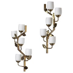Large Pair of Italian Wall Light in Brass, 1950s gio ponti style