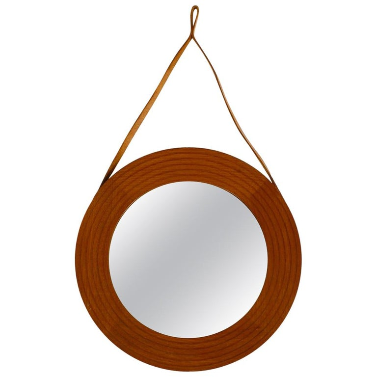 1960s Teak Wall Mirror with Leather Strap Made in Denmark For Sale