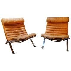 Pair Arne Norell 'Ari' Lounge Chair in Natural-Cognac Leather 1960s Scandinavian