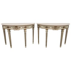 Pair of Neoclassical Style Marble-Top Demilune Console Tables