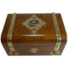Antique English Burl Walnut Jewelry Box, Brass and Pietra Dura Mounted