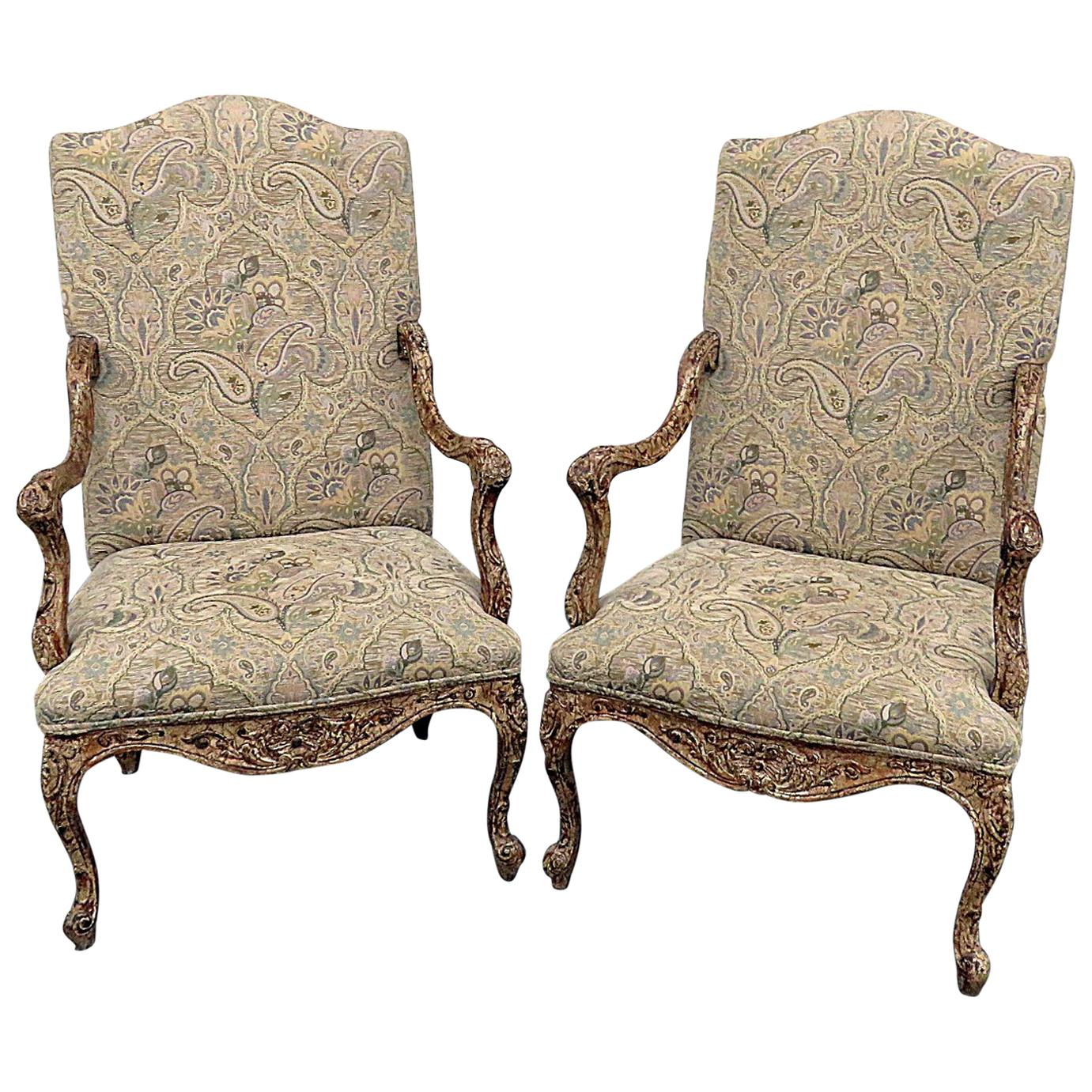 Pair of Louis XV Style Tapestry Armchairs