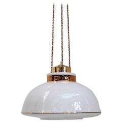 Danish Modern White Glass Pendant with Gold Decoration and Brass by Vitrika