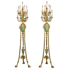 Pair of Louis XVI Style Enamelled Ten-Light Torchere Candelabra, circa 1880