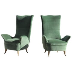Pair of Armchairs ISA Bergamo Green Velvet Golden Aluminum Geometric Form, 1950s