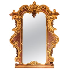 Large Rococo Style Mirror in Gilt and Painted Oak, circa 1900