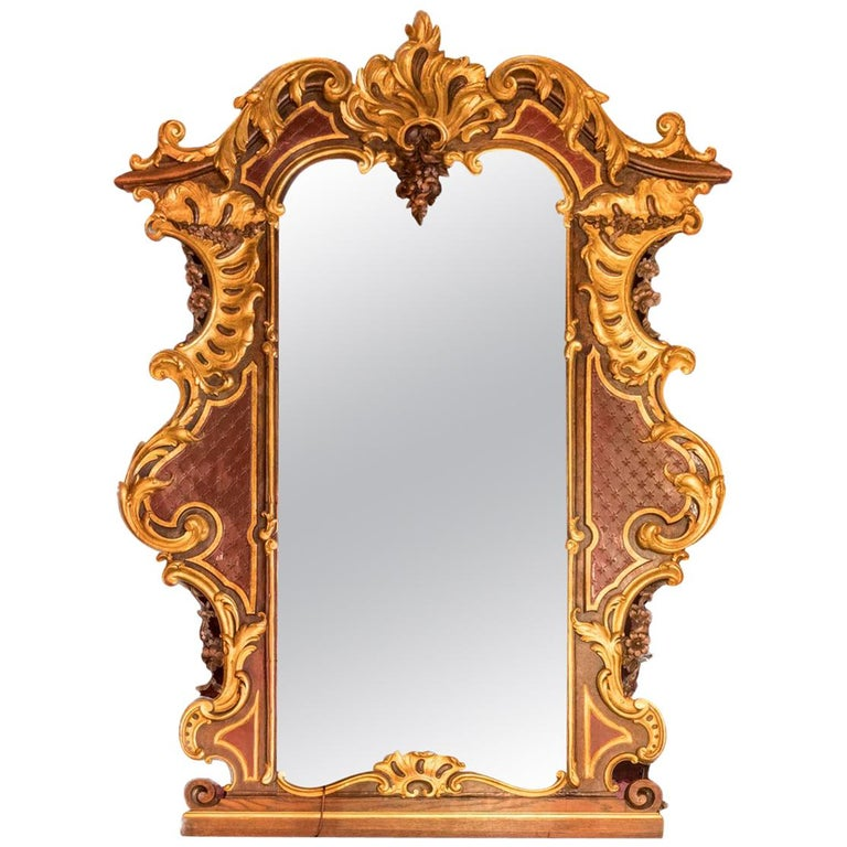 024c9224e474 Large Rococo Style Mirror in Gilt and Painted Oak