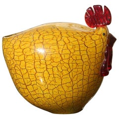 Murano Glass Hen 1970s Italia Design Yellow and Red Craquele Rooster