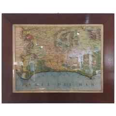 19th Century Italian Print Region of Rome Walnut Frame