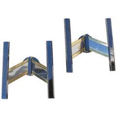 Geometric Pair of Sconces Metal Chrome Brass Sciolari Italian Design, 1970s