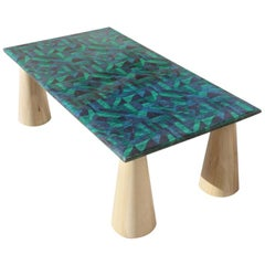 Rectangular Colored Parchment Coffee Table Foot Wooden Cone Italian Design, 1980