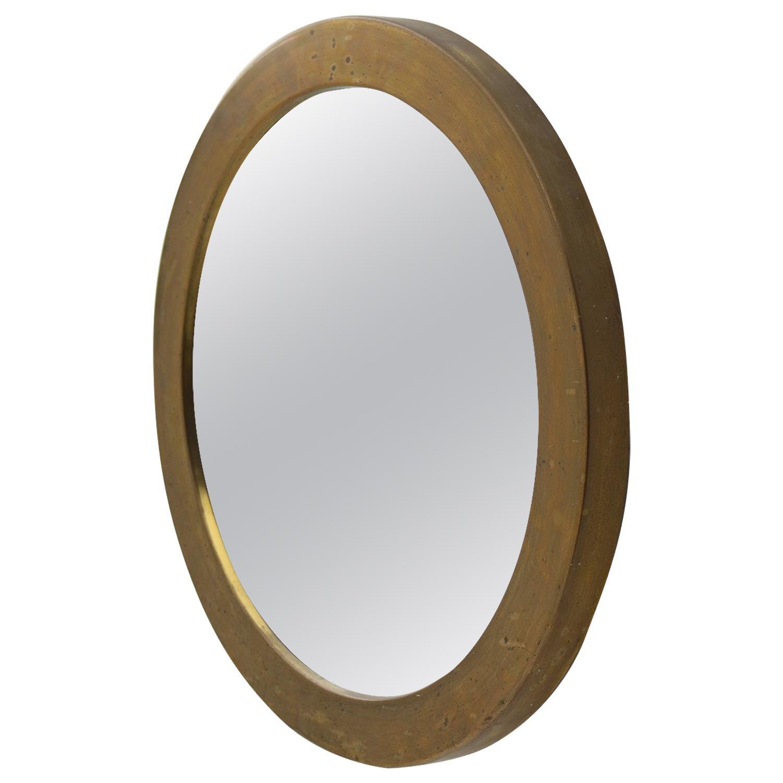 Swedish Midcentury Round Brass Mirror by Glasmäster Markaryd