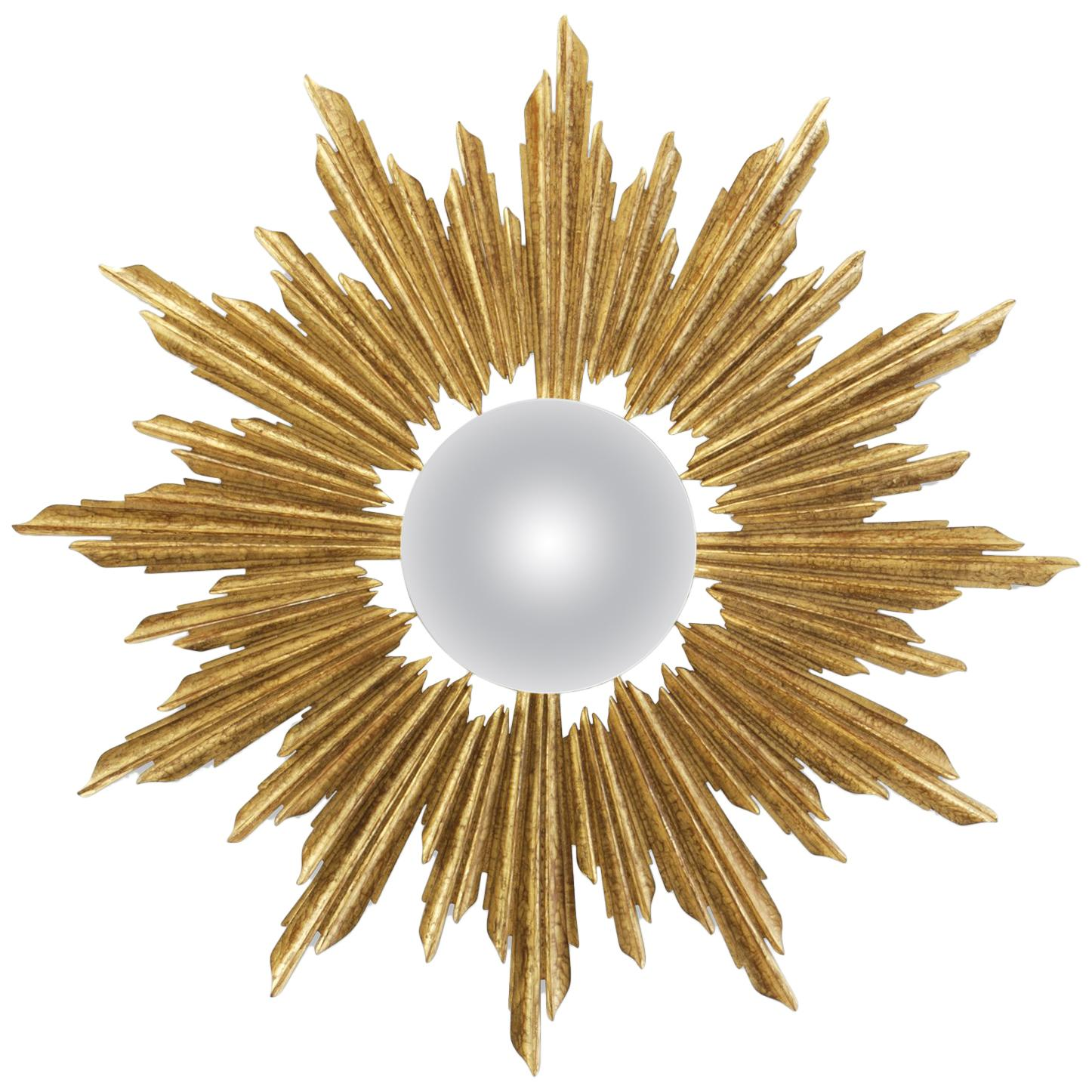 Sun King Mirror in Solid Wood with Antique Gold Paint