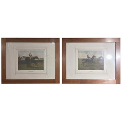 19th Century Pair of English Prints Horse Riding Walnut Frame by A C Havell