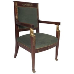 Egyptian Revival Chair  Rosewood with Ormulu Mounts, circa 1900