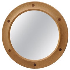 Round Swedish Midcentury Mirror in Oak and Rosewood by Nybrofabriken Fröseke
