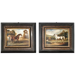 Pair of 19th Century Oil on Copper English Paintings Horses