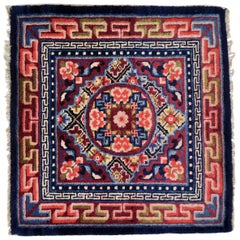 China Rug Hand Knotted Wool Red, Blue and White