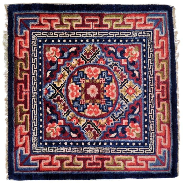 China Handgeknupfte Teppich Wolle Rot Blau Und Weiss Im Angebot Bei