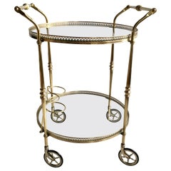 Classic Vintage French Silver Drinks Trolley or Bar Cart at