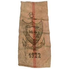 1922 French Nautical Jute Shipping Sack with Printed Shield and Anchor Logo